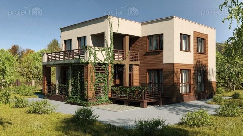 Проект дома с плоской кровлей в современном стиле 170-A